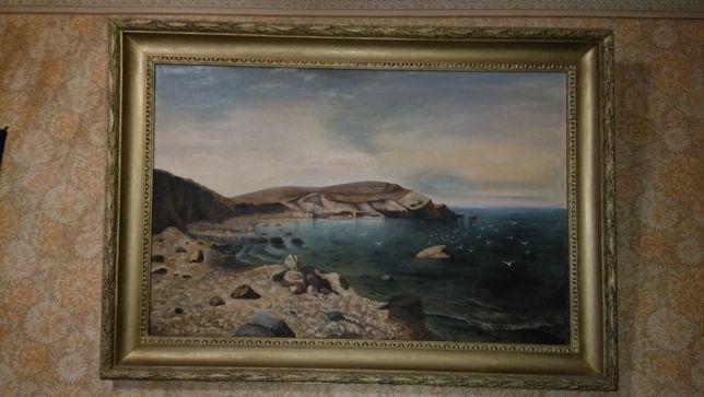 Продам картину морской пейзаж холст масло 105х70 см 50е годы