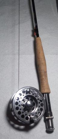 Wędka muchowa+ kołowrotek+sznur+ pokrowiec