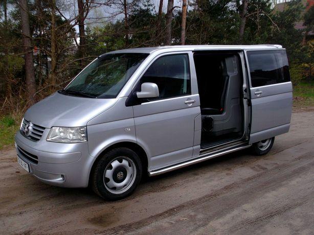 VW transporter T5 dubel kabina 5 osobowy 2 x drzwi przesuwne skóry