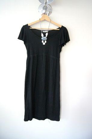 h&M mama czarna krotka tunika sukienka ciazowa 36S 38M prosta zrekawem