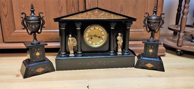 Śliczny, zegar kominkowy ,XIXw,Francja czarny marmur plus przystawki