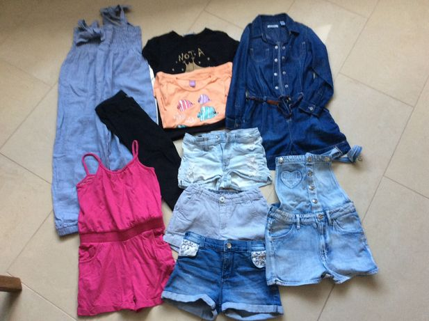 Zestaw na lato spodenki kombinezony 6-7 lat koszulki