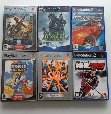 Jogos PS2 PlayStation2 troco medal honor Sonic need for speed NHL sims