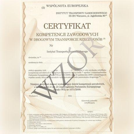 Certyfikat kompetencji zawodowych licencja transport rzeczy