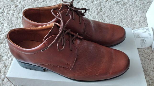 Buty pantofle komunijne eleganckie brązowe 35