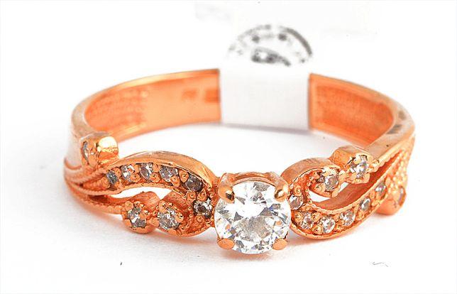 Złoty pierścionek kryształki mały rozmiar1541/28