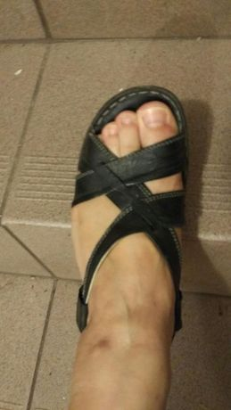Sandały, koturny, skóra rozmiar 38