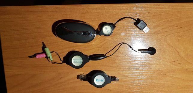 Myszka,słuchawka+mikrofon, kabel sieciowy RJ45 zestaw mini