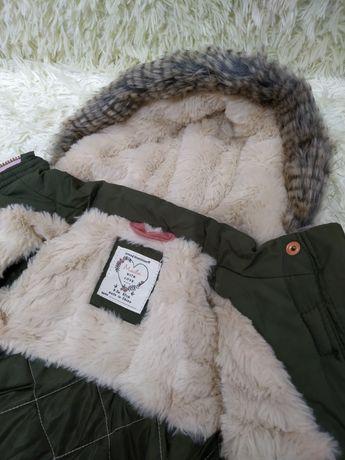 Курточка на меху для девочки 0-3 месяца 62 см.