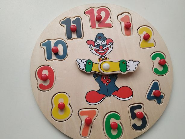 Деревянный сортер пазл часы