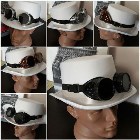 Шляпа Цилиндр стимпанк с очками гогглы Авиаторы