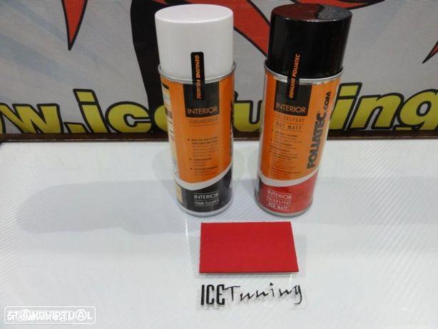 Spray de reparação, pintura + spray limpeza Vermelho Mate de volantes e interior