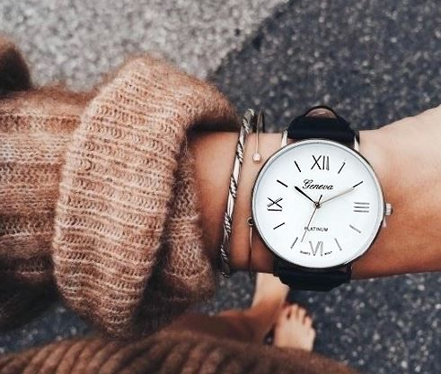 Klasyczny zegarek Geneva czarny skórzany pasek