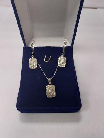 Srebrny komplet z cyrkoniami kolczyki + wisiorek 925