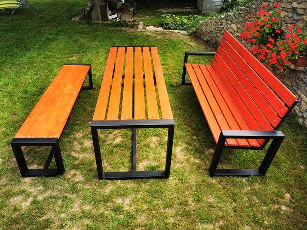 Meble ogrodowe stół ławka stalowe drewniane