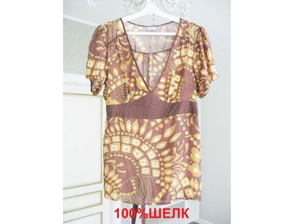 Шикарная тонкая Блуза Блузка Oasis 100% Шелк (L/XL)