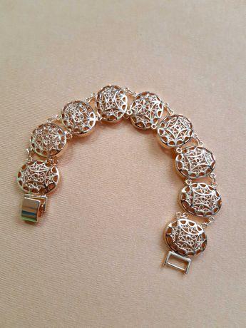 Bransoletka damska w kolorze różowego złota 585. Długość 20 cm