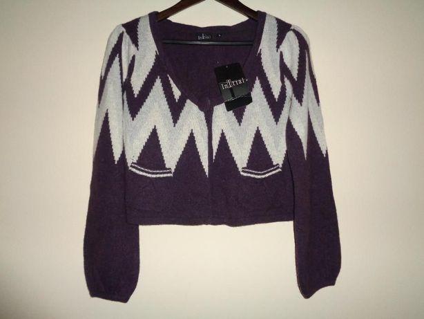 INITIAL delikatny sweterek bolerko kardigan wiskoza wełna angora S/M
