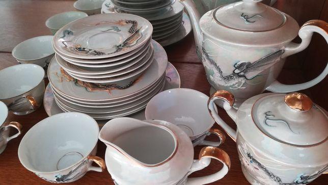 Serviço de chá loiça chinesa Com fio ouro.