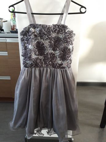 Sukienka szara srebrna tiul cekiny