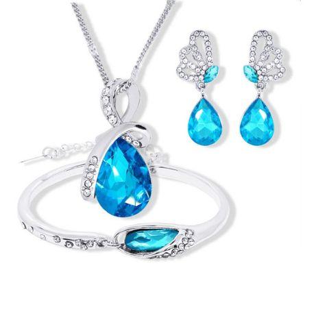 Komplet biżuterii KROPLA WODY posrebrzane błękit
