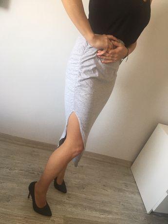 Spódnica szara asymetryczna na gumkę rozmiar uniwersalny