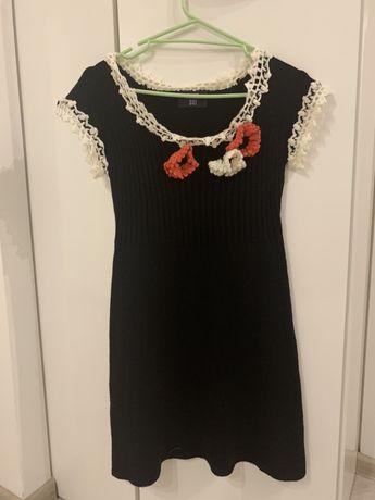 Вязаное платье ANNA SUI с цветами, размер XS-S, шерсть 35%