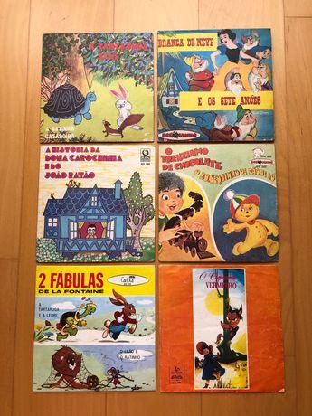 6 Discos Vinil 45 rotações - Histórias Infantis