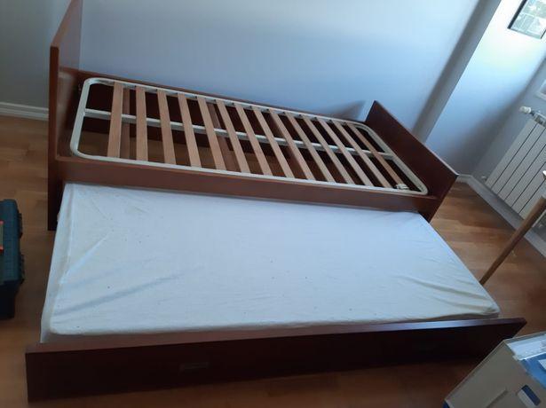 Cama de Solteiro com 2a cama de gavetão em Madeira Maciça