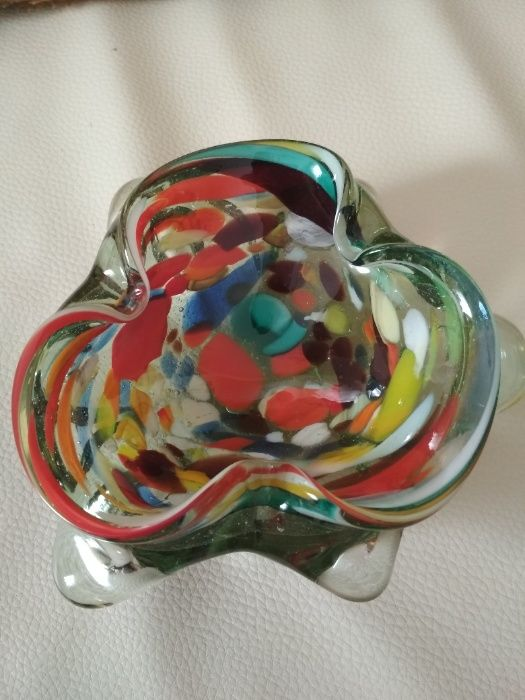 Piękna kolorowa szklana, masywna popielniczka-Vintage-PRL Głuchołazy - image 1