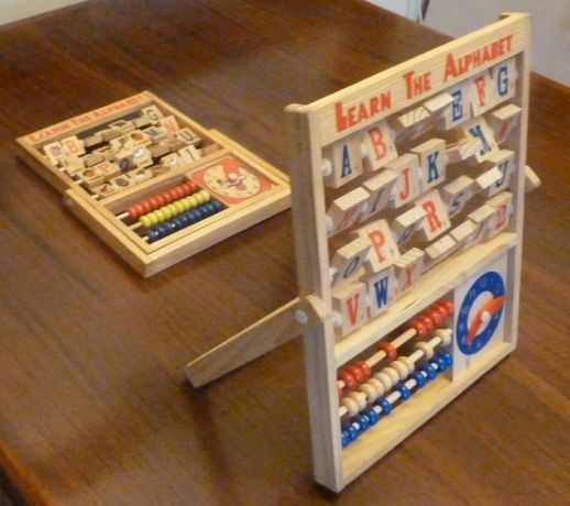 Drewniana tablica ,alfabet nauka angielskiego zegar liczydło; wysyłka