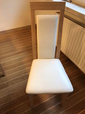 Krzesła drewniane lite drewno jesion skóra cena za 2 szt / dostepne 8