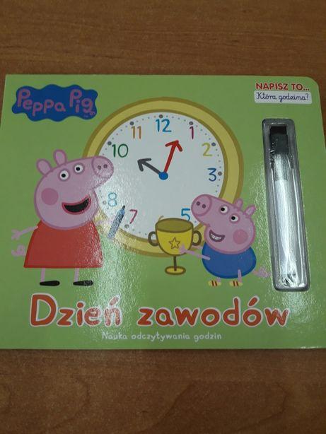 Świnka Peppa książka puzzle zegar Dzień zawodów NOWA