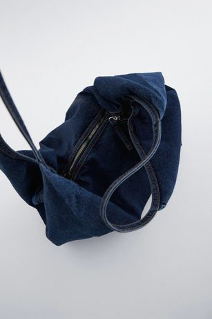 Torba Zara jeansowa shopper