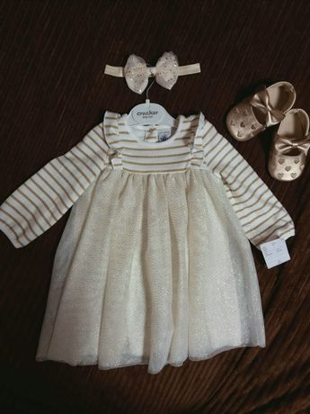 Шикарне шифонове плаття,платье для дівчинки,пинетки,пов'язка