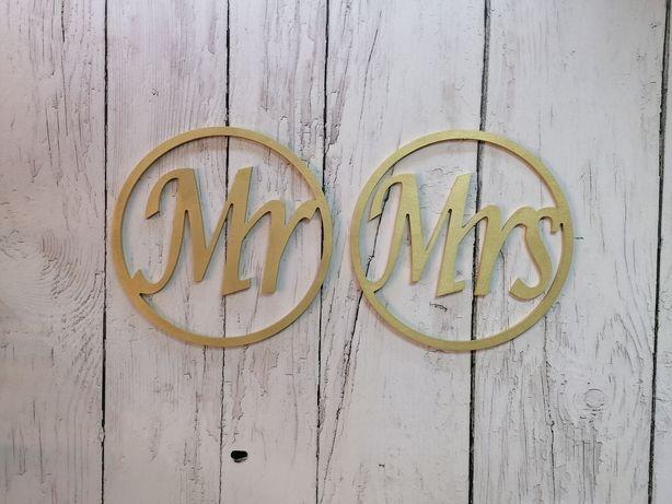 Koła Mr Mrs złote 40 cm dekoracja ślubna