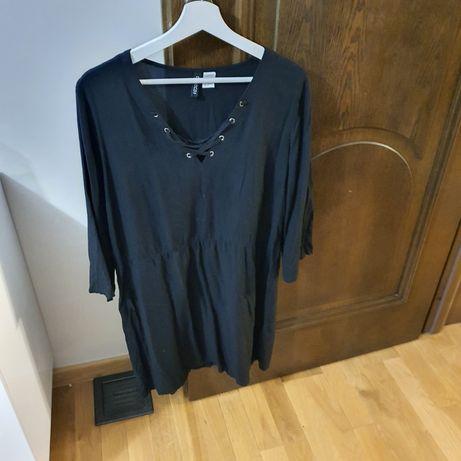 Czarna sukienka ze sznurowanym dekoltem rozmiar 42 H&M wysyłka gratis
