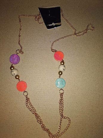 Яркое цветное украшение длинная подвеска цепочка на шею бижутерия