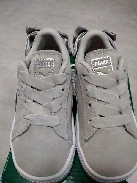 Puma suede z kokarda buty dziecięce szare rozmiar 24