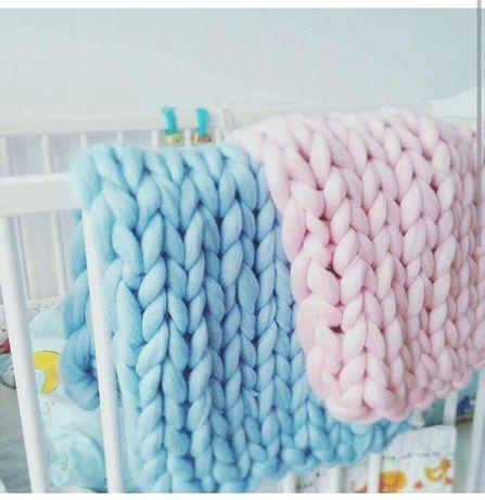 Koc czesankowy hand knitting blanket polski merynos każdy rozmiar