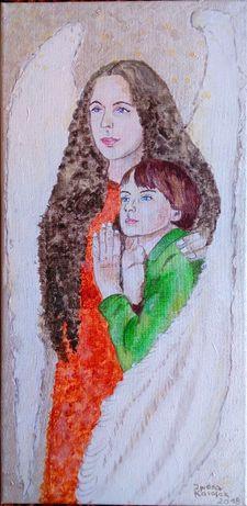 """Obraz ręcznie malowany """"Anioł Stróż dla chłopca"""""""
