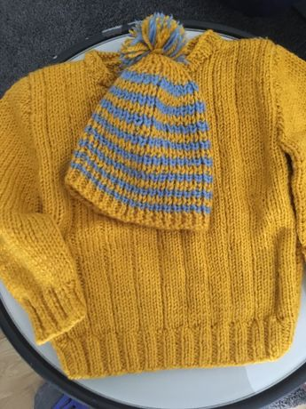 Camisola e gorro lã feita mão