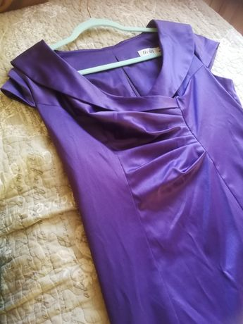 Fioletowa sukienka midi do kolan elegancka rozmiar XL Livili