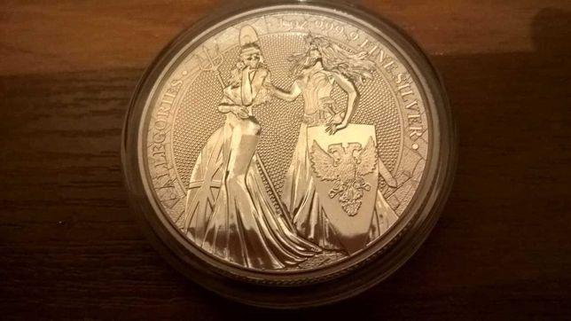 Серебряная монета 1oz Аллегория Британия и Германия 2019