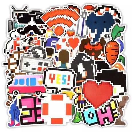 Стикера Наклейки (Пиксель ,Майнкрафт ,Марио , 16 Бит , Сердечка)
