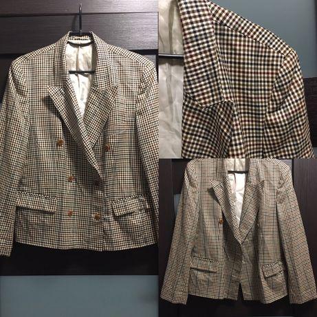 Шелк+шерсть дорогой винтажный пиджак оверсайз жакет клетка двубортный