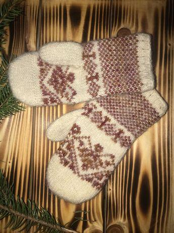 В'язані варежки, шерстяні рукавички