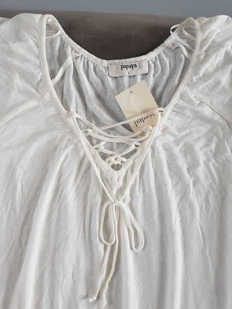PAPAYA biała bluzka z ozdobnym dekoltem roz L lub dla ciężarnej