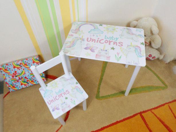 """Детский столик """" Единороги - Unicorns """" стол-парта,стульчик"""