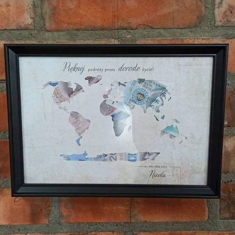 Mapa świata ramka 18 osiemnastka ślub urodziny